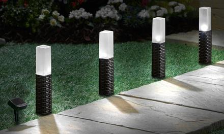 Set of Four Rattan-Effect Solar Pathway Lights