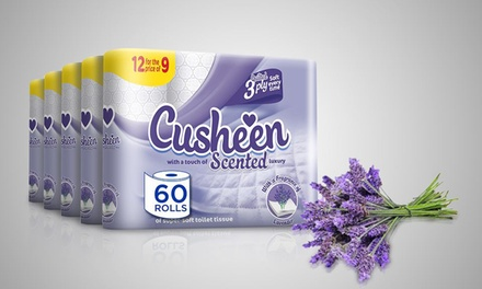 60 or 120 Rolls of Cusheen Quilted Lavender Toilet Paper