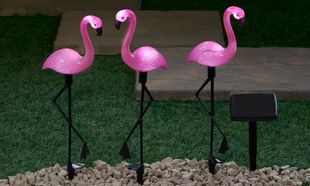 One, Two or Four Sets of Three Flamingo Solar Standing Lights